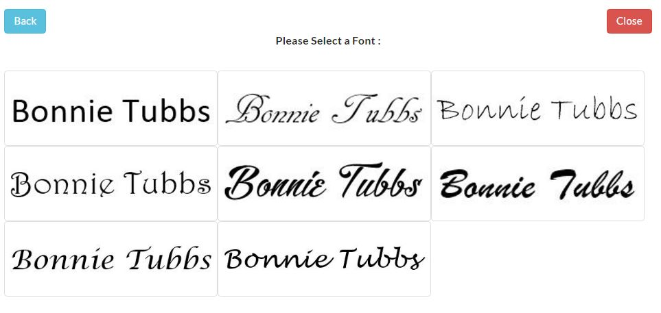 Choose font signature